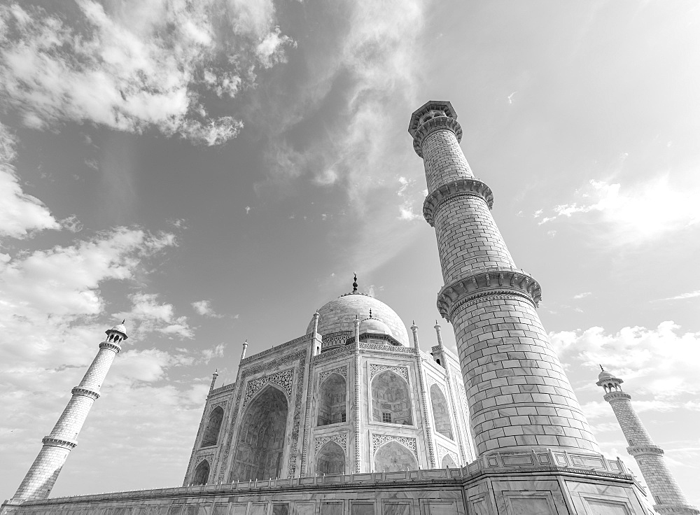 The Taj Mahal in black and white, UNESCO World Heritage Site, Agra, Uttar Pradesh, India, Asia