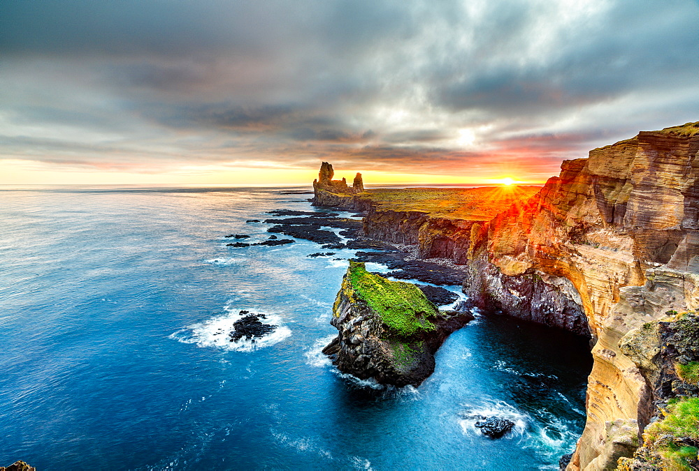 Londrangar Cliffs at sunset, Iceland, Polar Regions