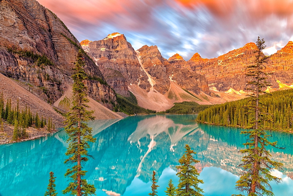 Lake Moraine at sunrise, long exposure, Canada - 1320-7