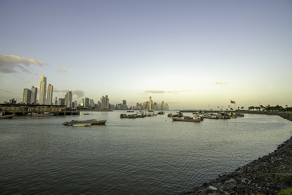 The Bay of Panama with Panama City Skyline, Panama, Central America