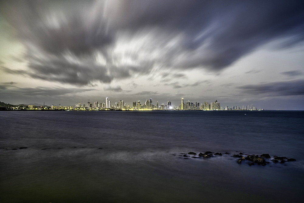 Long exposure at dusk overlooking the Bay of Panama in Panama City, Panama, Central America