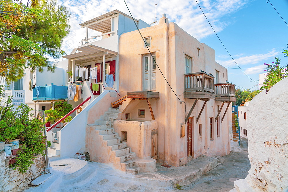 A corner of Mykonos Town with washing out, Mykonos, Cyclades, Greek Islands, Greece, Europe