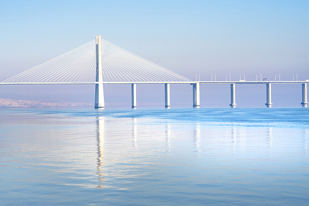 The Vasco da Gama Bridge is a cable-stayed bridge that spans the Tagus River in Parque das Nav?v?es in Lisbon