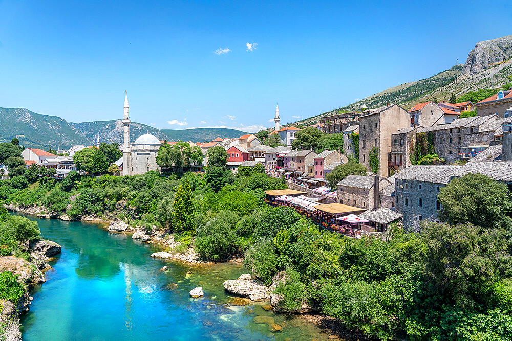 Koski Mehmed Pasha Mosque by the Neretva river in Mostar, Bosnia and Hercegovina, Europe