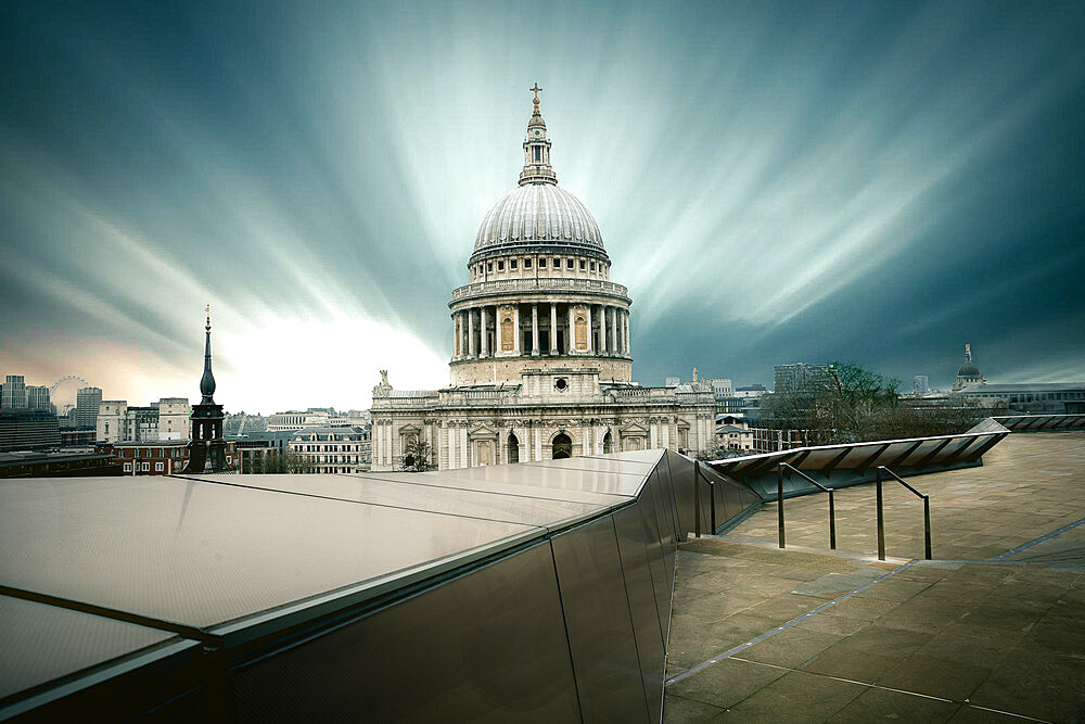 St. Pauls Cathedral shot from One New Change roof Terrace, with long exposure capturing cloud movement over London skyline, London, England, United Kingdom, Europe