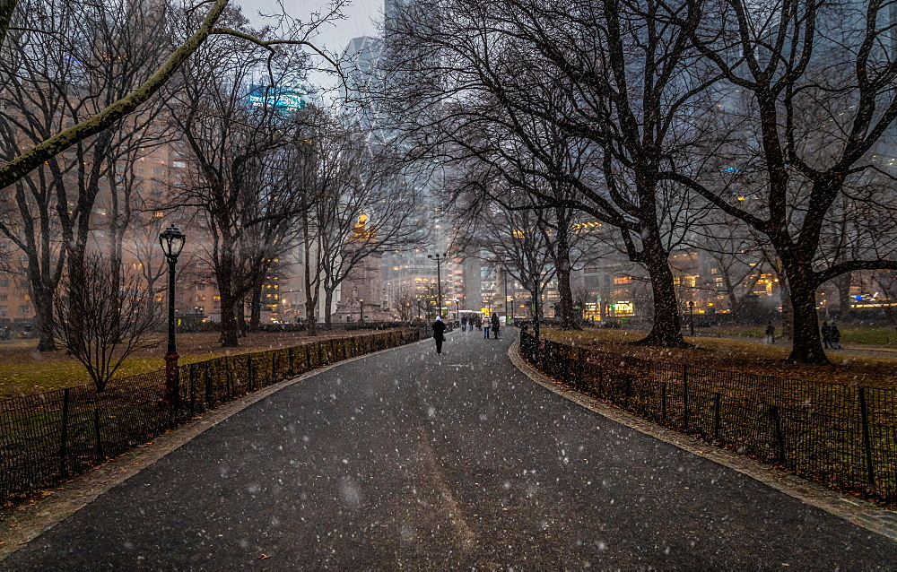 Snow falls in Central Park, New York, United States of America, North America