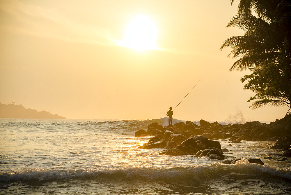 Fisherman on Talalla Beach, Sri Lanka, Asia