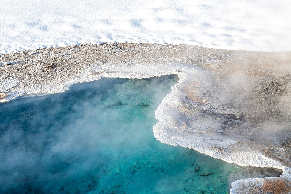 Bright blue thermal feature in snow, Yellowstone National Park, Wyoming, United States - 1335-123