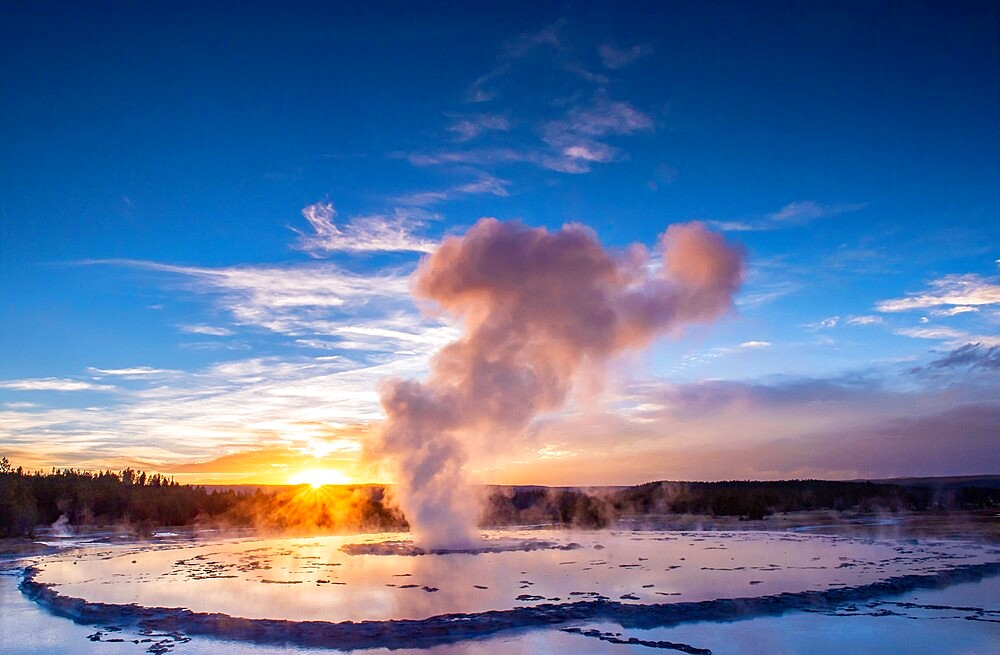 Great Fountain Geyser at sunset with reflection and sunburst, Yellowstone National Park, Wyoming, United States - 1335-151