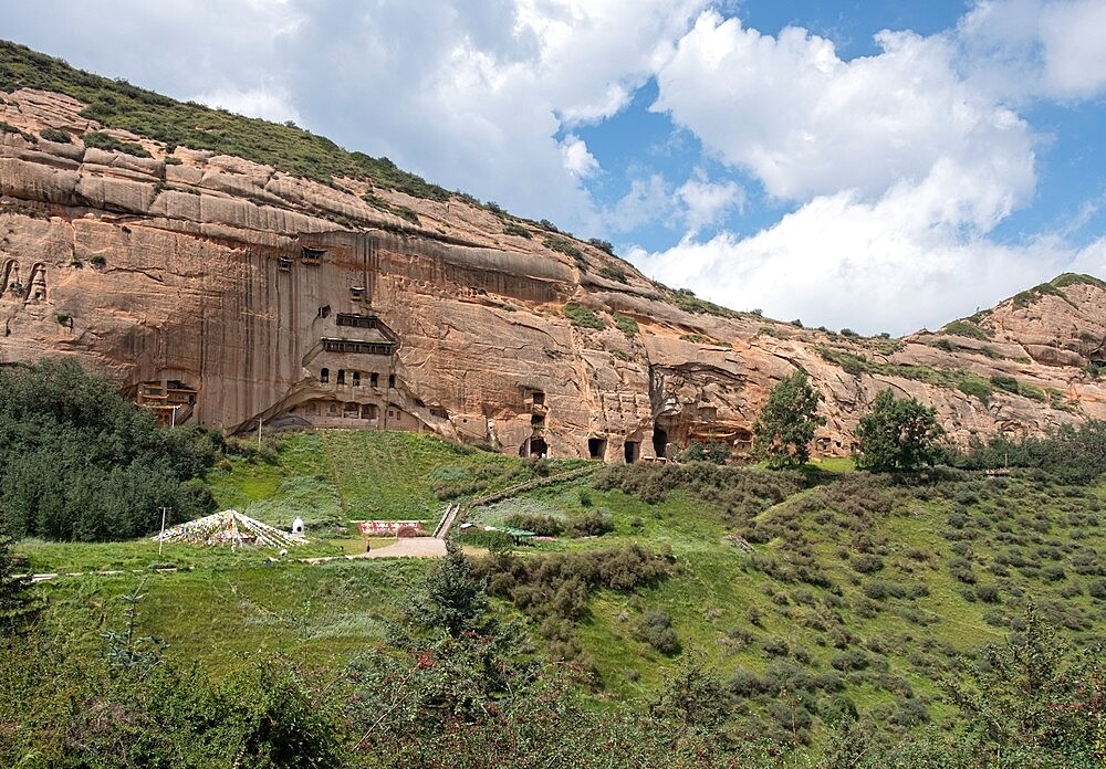 Mati temple grottos is carved in the mountain and it is made up of narrow galleries, Gansu, China - 1336-111