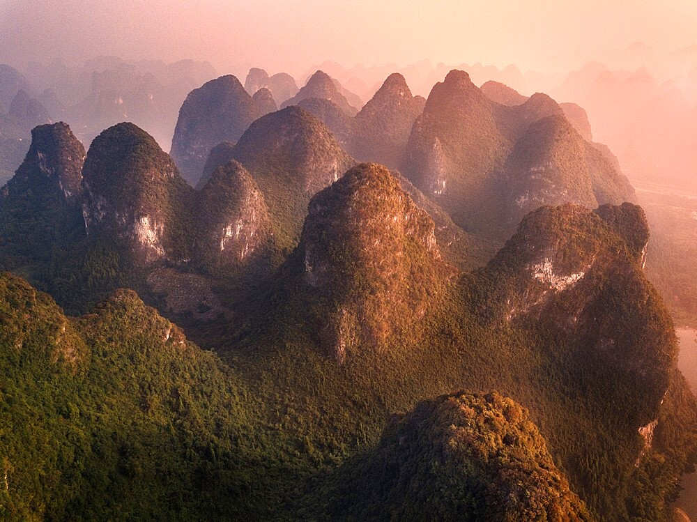 Aerial view on the Yangshuo mountains in the Li river area, Guangxi, China - 1336-115