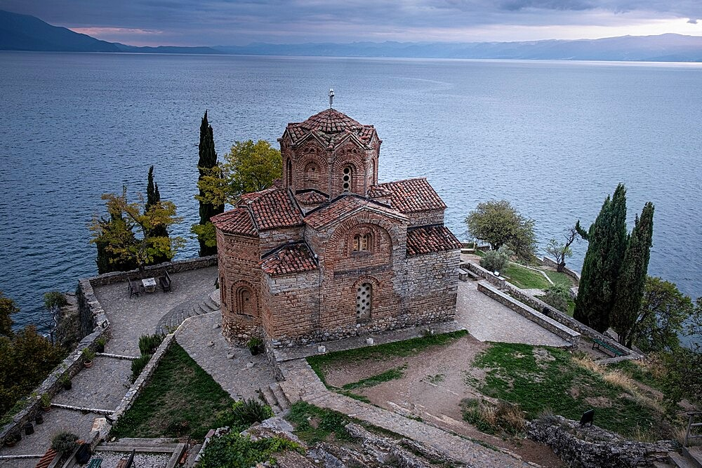 Blue hour at Saint John at Kaneo. It is an Orthodox church situated on the cliff overlooking lake Ohrid, Ohrid, North Macedonia - 1336-123
