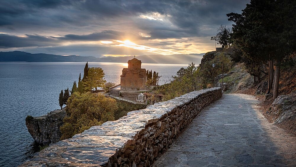 Panoramic at Saint John at Kaneo. It is an Orthodox church situated on the cliff overlooking lake Ohrid, Ohrid, North Macedonia - 1336-124