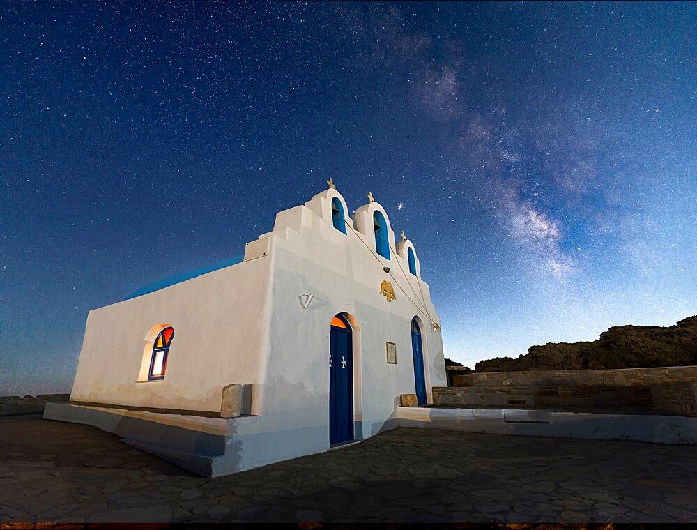 Milky way above Agios Georgios on Paros island, Greece - 1336-131