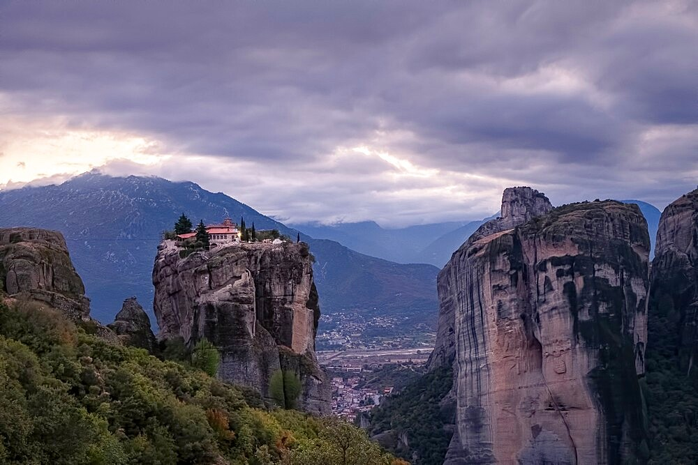 Aghia Triada Meteora monastery in a cloudy evening, Thessaly, Greece - 1336-133