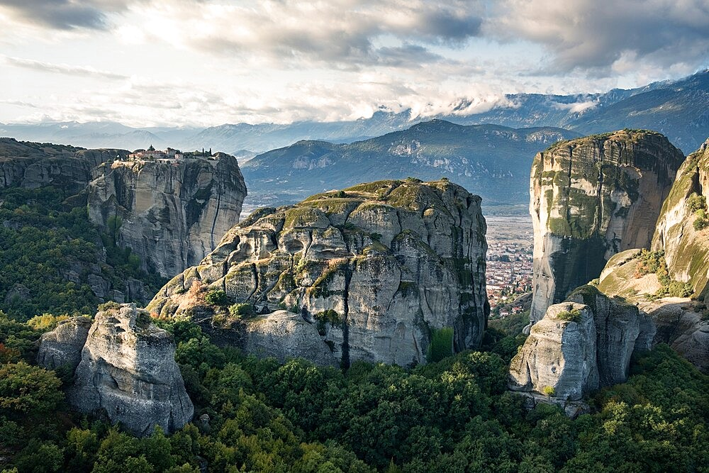 Agios Stefanos and Aghia Triada monasteries at sunrise, Meteora, Thessaly, Greece - 1336-135