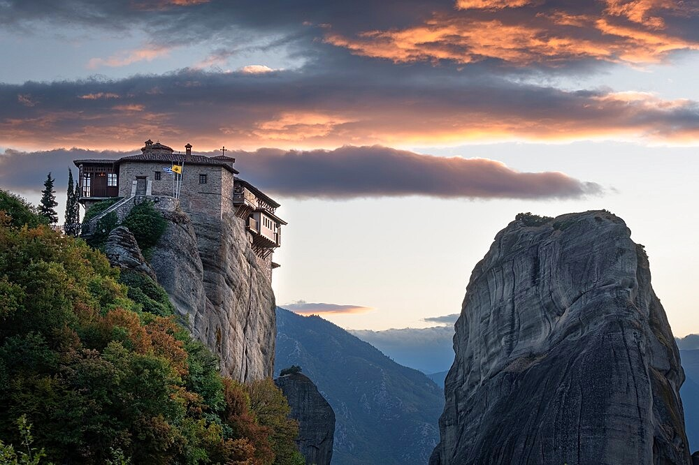 Clouds at sunset over Roussanou monastery, Meteora, Thessaly, Greece - 1336-138