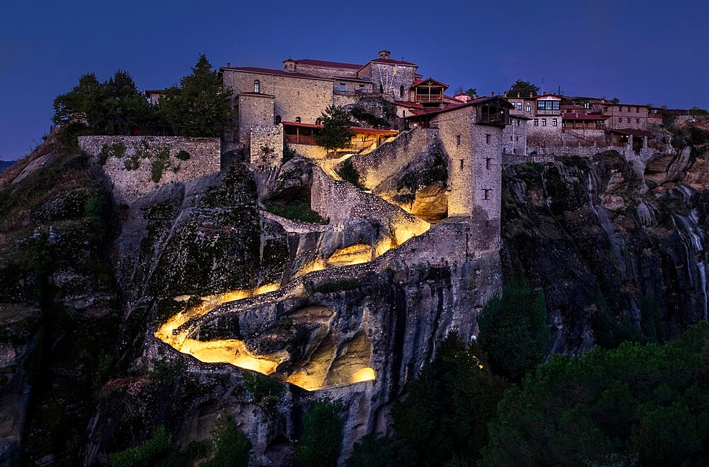 Megalo Meteoro monastery in the blue hour before sunrise, Meteora, Thessaly, Greece - 1336-144