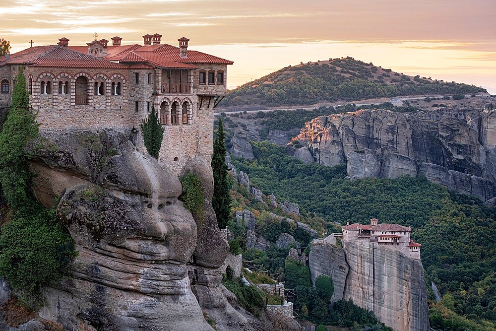 Varlaam and Roussanou monasteries at sunrise, Meteora, Thessaly, Greece - 1336-165