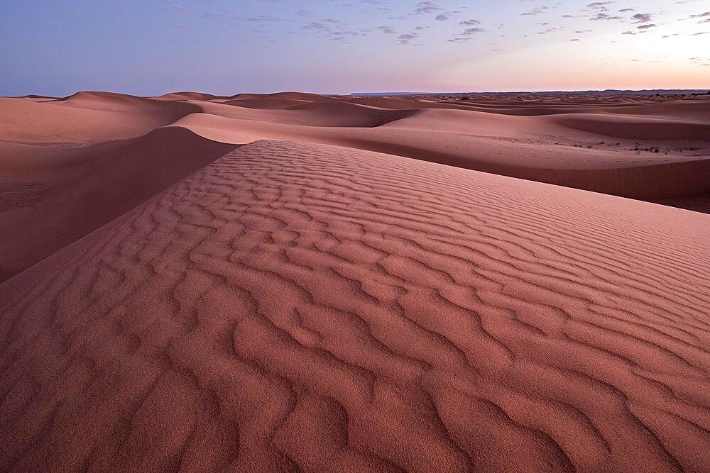 Blue hour on the Sahara desert sand dunes pattern, Erg Chebbi, Merzouga, Morocco - 1336-179
