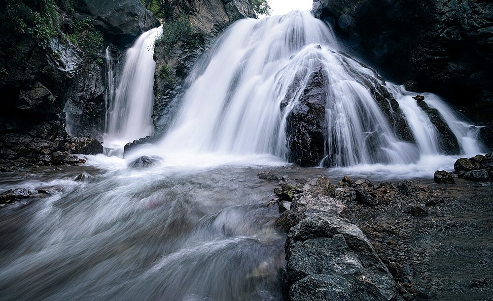 Imlil hidden waterfall on the slopes of Jebel Toubkal mountain, Morocco - 1336-189
