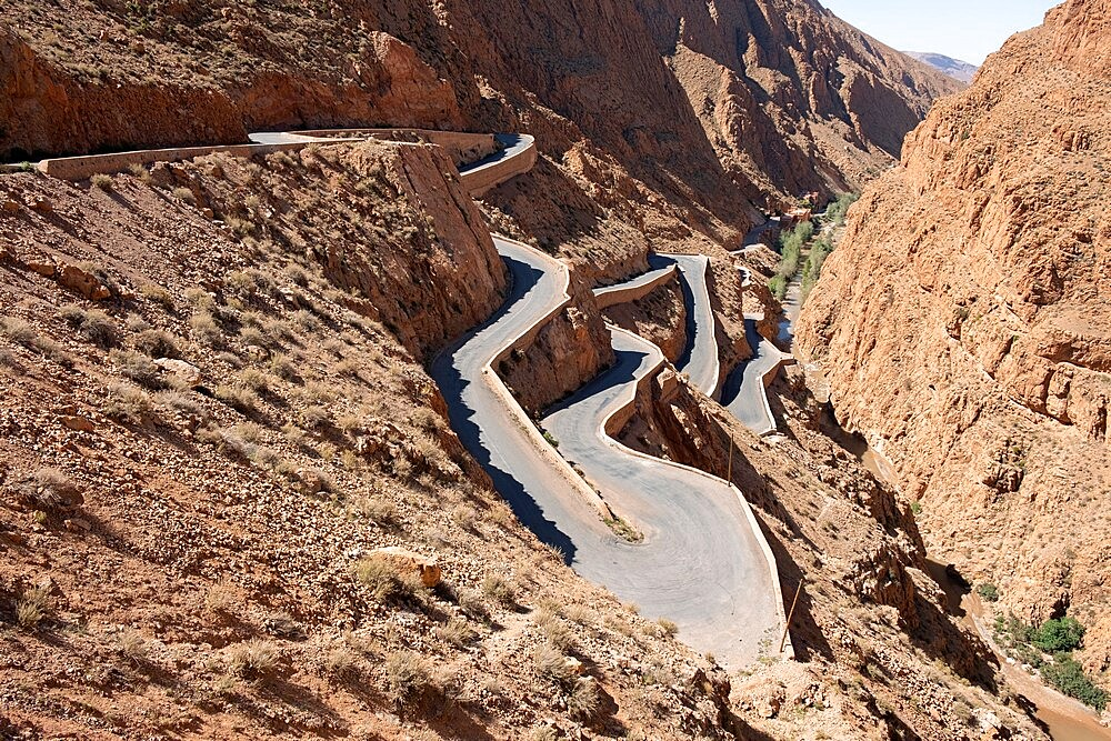 The winding moutain road in Dades Gorge, Morocco - 1336-191