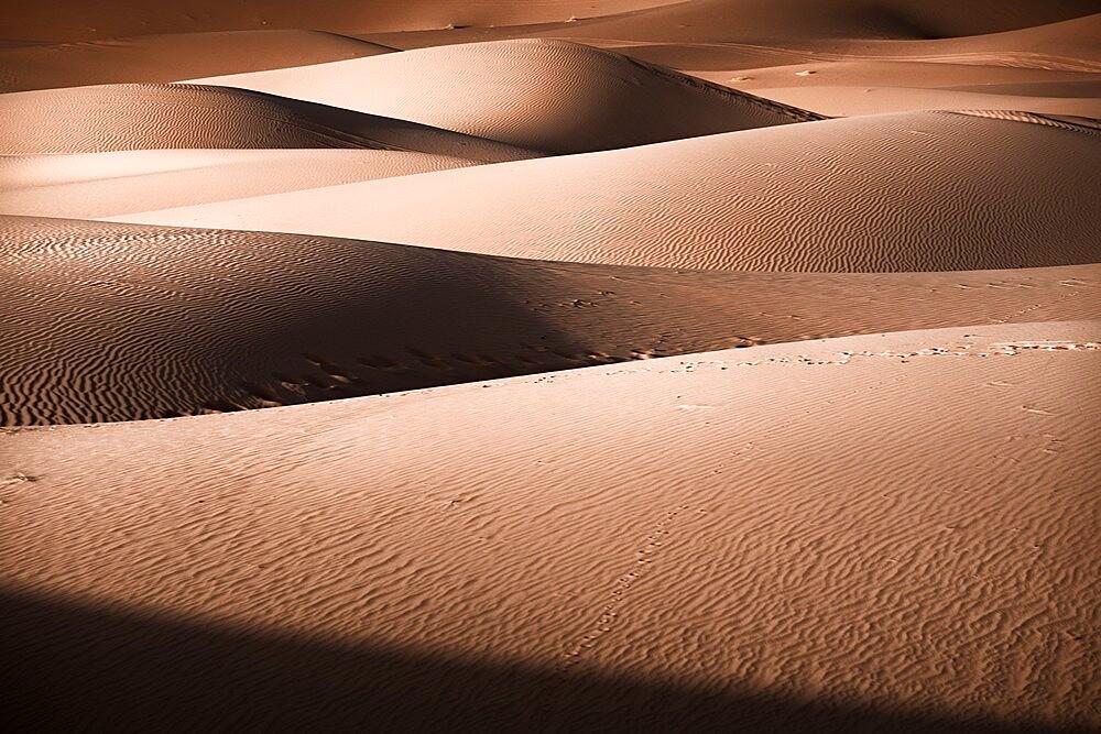 Sand dunes details of lights and shadows game Sahara desert, Merzouga, Morocco - 1336-192
