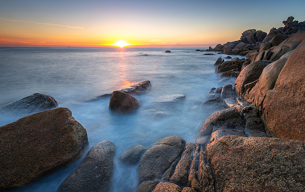 Sunset from the rocky coast in Couso, La Coruna, Galicia, Spain, Europe - 1344-2