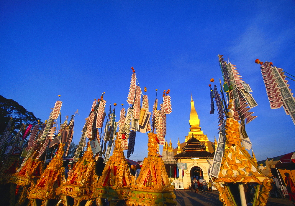 Celebrating Khao Pansaa at Pha That Luang Temple, Vientiane, Laos - 142-5217