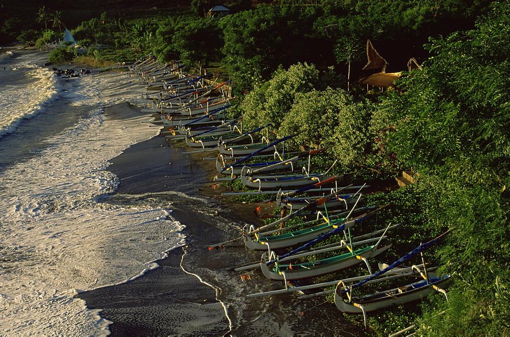 Fishing boats on the beach, East coast, island of Bali, Indonesia, Southeast Asia, Asia - 142-6185