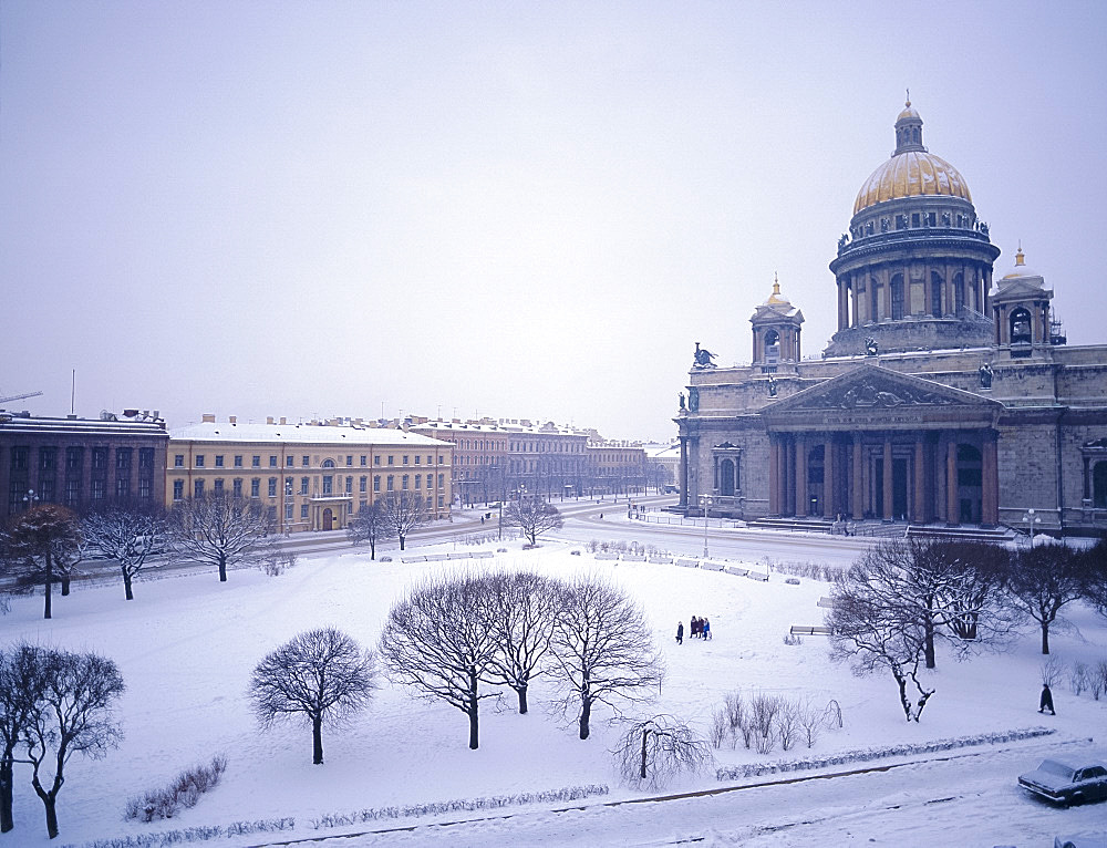 St. Isaac's Cathedral in snow, St. Petersburg, Russia