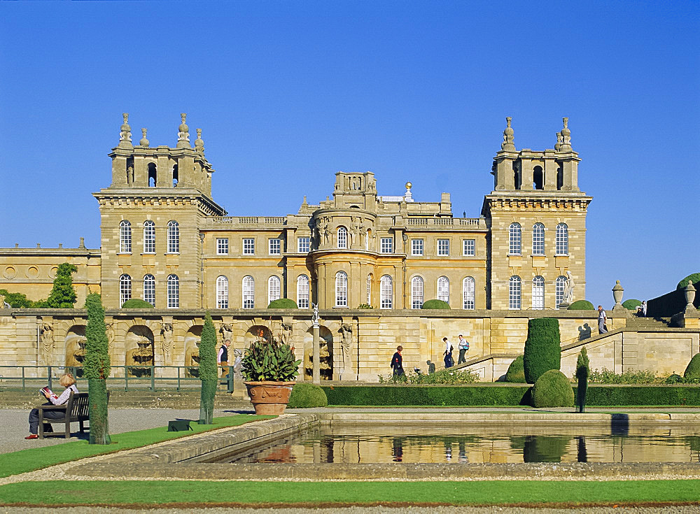 Blenheim Palace and water terrace, Oxfordshire, England, UK, Europe