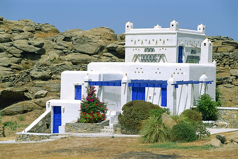 Ornate architecture of house on Mykonos, Cyclades Islands, Greek Islands, Greece, Europe