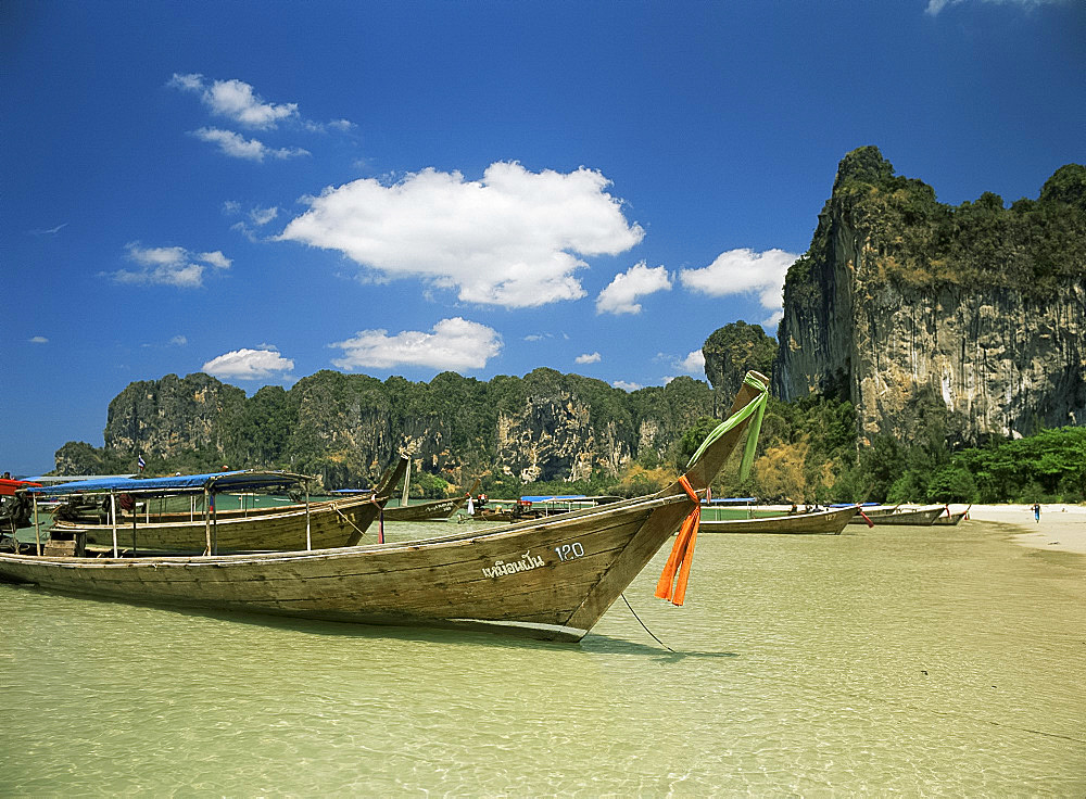 Long tail boats, Railay Beach, Krabi, Thailand, Southeast Asia, Asia