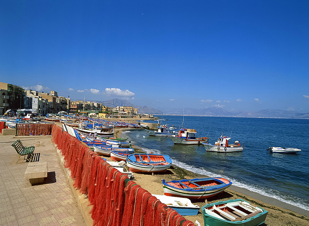 Fishing boats, Aspra, Sicily, Italy, Europe