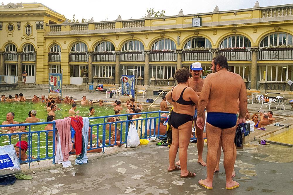 Bathers at the Szechenyi Baths in Budapest, Hungary, Europe