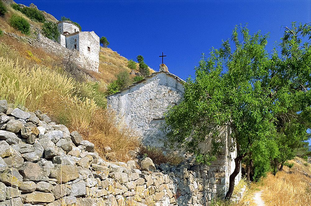 Old Byzantine churches on a hillside, Aegina, Saronic Islands, Greek Islands, Greece, Europe