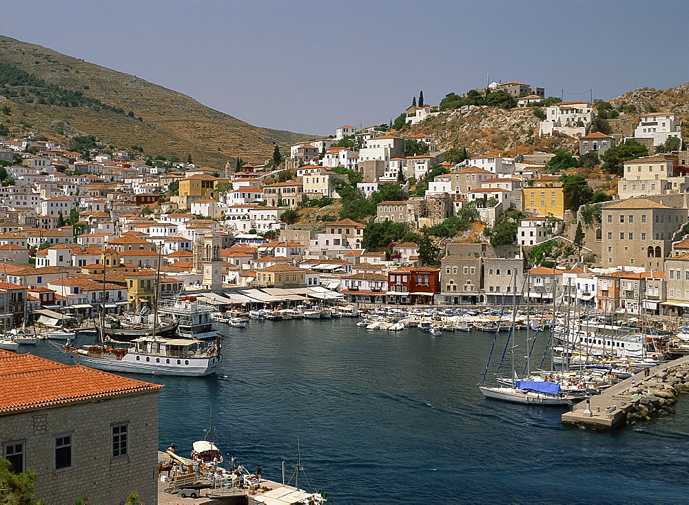 The harbour and town on Hydra, Argo Saronic Islands, Greek Islands, Greece, Europe
