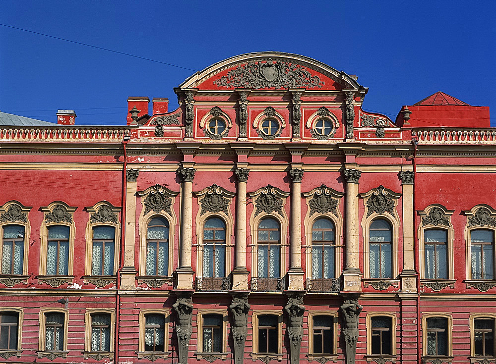 Facade of the Beloselsky-Belozersky Palace in St. Petersburg, Russia, Europe