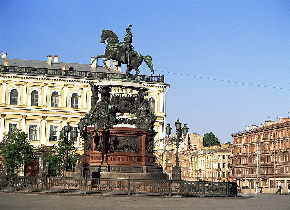 Statue of Nicholas I, St. Isaac's Square, St. Petersburg, Russia, Europe