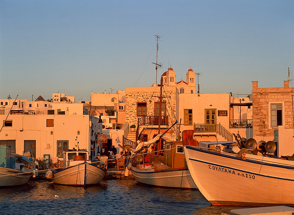 Fishing boats in the harbour at Naousa, Paros, Cyclades, Greek Islands, Greece, Europe