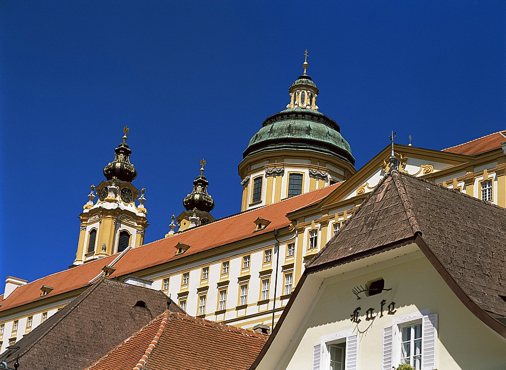 Melk Abbey and roofs, Melk, Austria, Europe