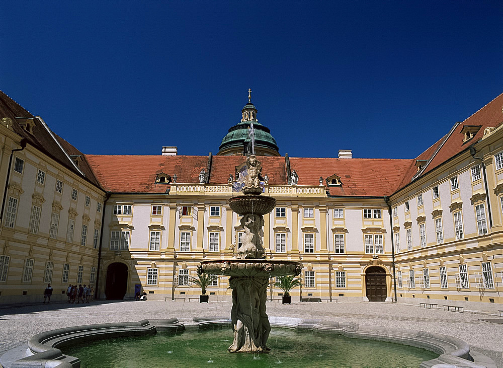 Courtyard and fountain, Melk Abbey, Melk, Austria, Europe