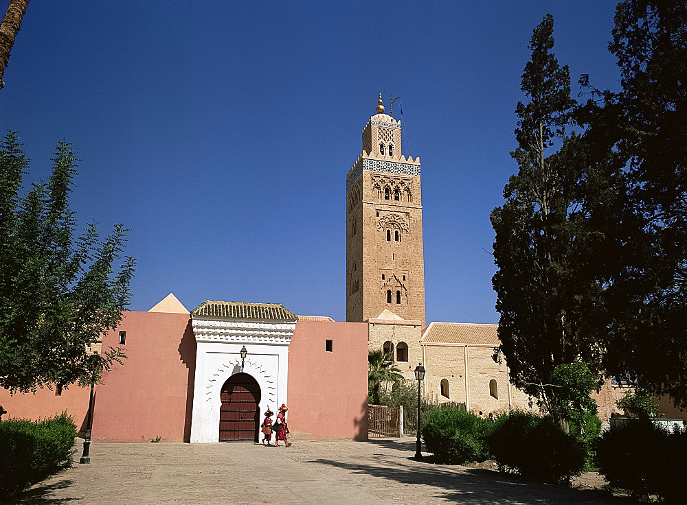 Koutoubia minaret and mosque, Marrakech, Morocco, North Africa, Africa