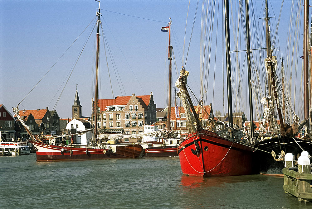 Old boats in the harbour, Voldendam, Holland, Europe