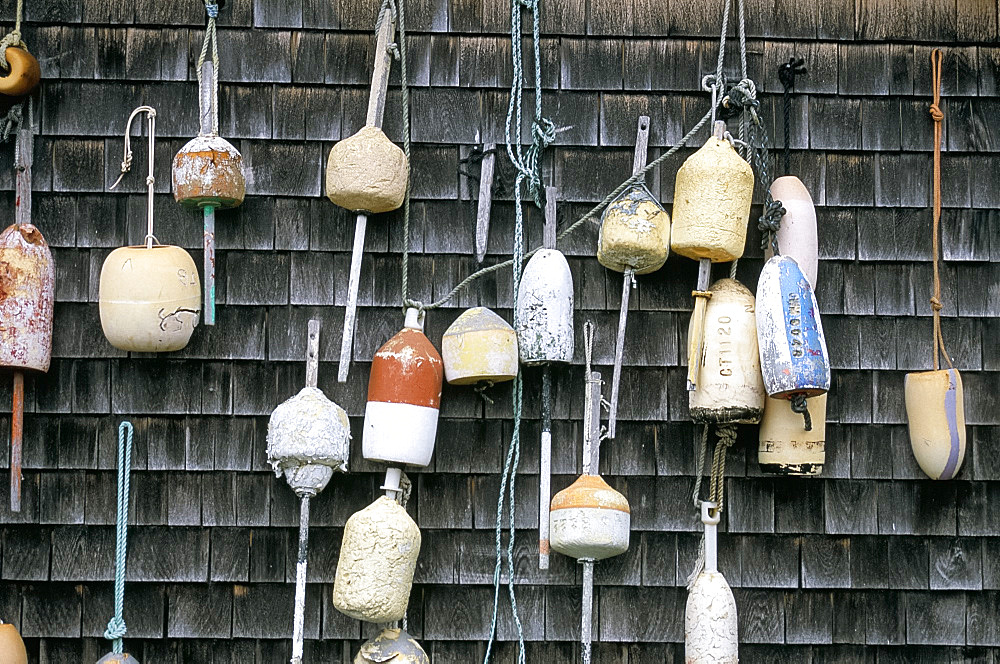Buoys decorating a wall, Vineyard Haven, Martha's Vineyard, Massachusetts, New England, United States of America, North America