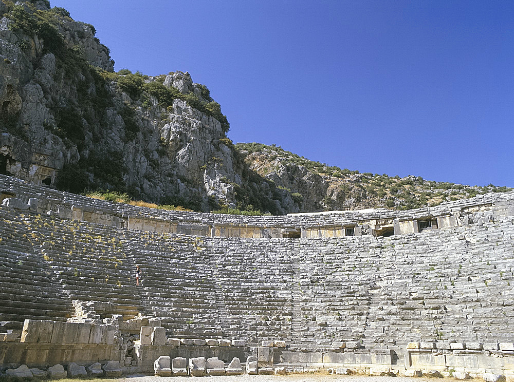 Ancient Lycian amphitheatre, Myra, Anatolia, Turkey, Asia Minor, Asia
