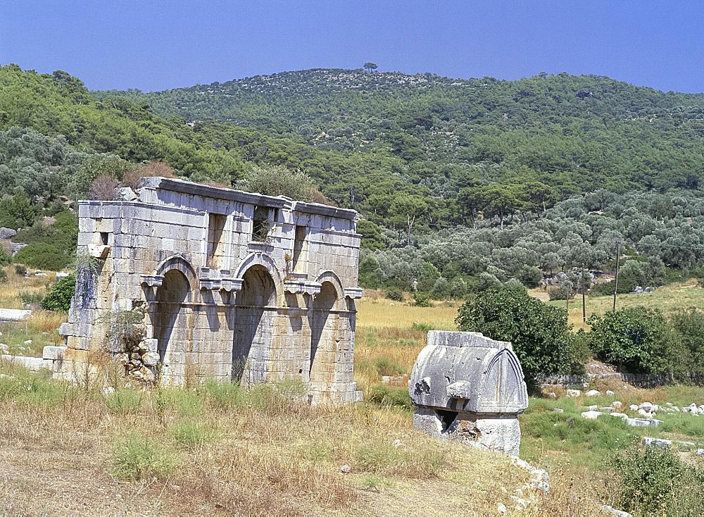 Triple gateway at Lycian ruins, Patara, Anatolia, Turkey, Asia Minor, Asia
