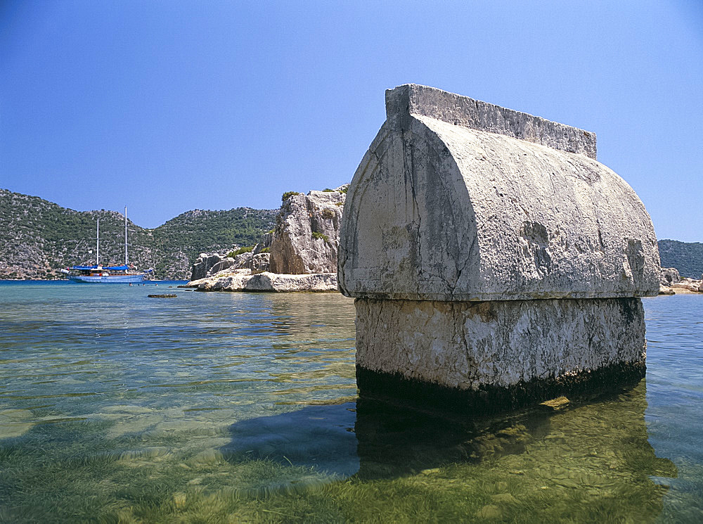 Lycian tomb in the sea, Kalekoy, Simena, Anatolia, Turkey, Asia Minor, Asia