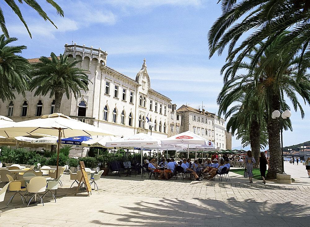 Seafront cafes in Trogir, Dalmatian Coast, Dalmatia, Croatia, Europe